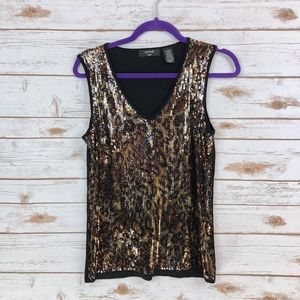 VERVE Ami leopard pattern shiny sequin tank top